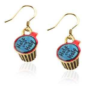 Half and Half Charm Earrings in Gold