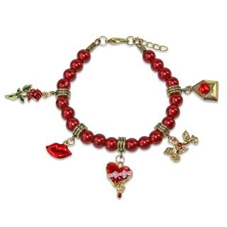 Valentines Day Charm Bracelet in Gold