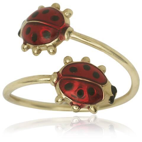14k Yellow Gold Enamel Double Ladybug Adjustable Toe Ring