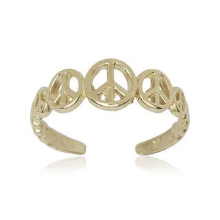 14k Yellow Gold Graduating Peace Sign Adjustable Toe Ring
