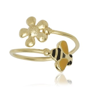 14k Yellow Gold Enamel Bee and Flower Bypass Adjustable Toe Ring