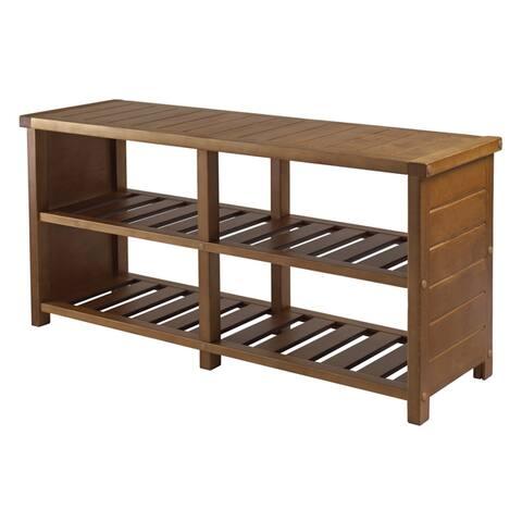 Keystone Bench, Shoe Storage, Teak Finish