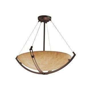 Justice Design Group Clouds-Crossbar 48-inch Round Bowl Bronze Pendant