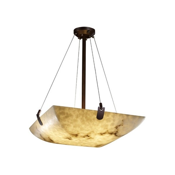 Justice Design Group LumenAria-U-Clips 24-inch Square Bowl Bronze Pendant