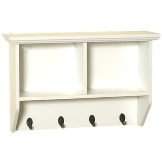 "Zenna Home 9924WWA 23"" W X 15.25"" H X 7"" D White Wall Shelf With Hooks"