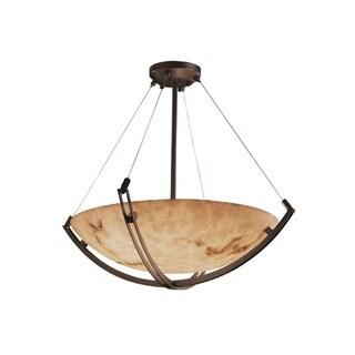 Justice Design Group LumenAria-Crossbar 48-inch Round Bowl Bronze Pendant