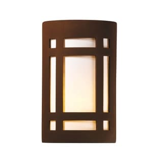 Justice Design Group Ambiance ADA Real Rust Outdoor Large Craftsman Window Wall Sconce