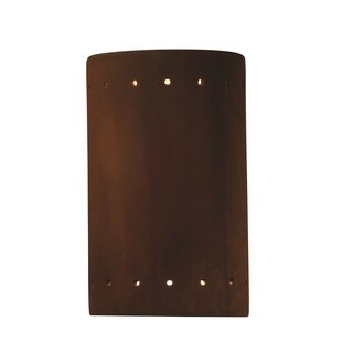 Justice Design Group Ambiance ADA Real Rust Outdoor Cylinder with Perfs Wall Sconce