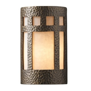 Justice Design Group Ambiance Brass Outdoor Large Prairie Window Wall Sconce