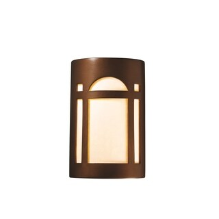 Justice Design Group Ambiance Antique Copper Outdoor Small Arch Window Wall Sconce