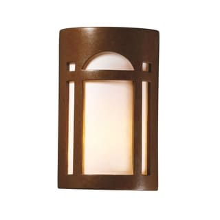Justice Design Group Ambiance Rust Patina Outdoor Small Arch Window Wall Sconce