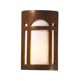 Justice Design Group Ambiance Rust Patina Outdoor Large Arch Window Wall Sconce