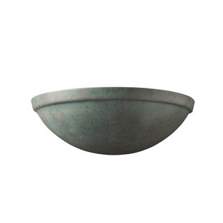 Justice Design Group Ambiance Verde Patina Rimmed Quarter Sphere Wall Sconce