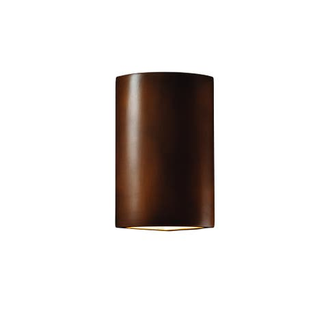 Justice Design Group Ambiance Antique Copper Cylinder Corner Wall Sconce