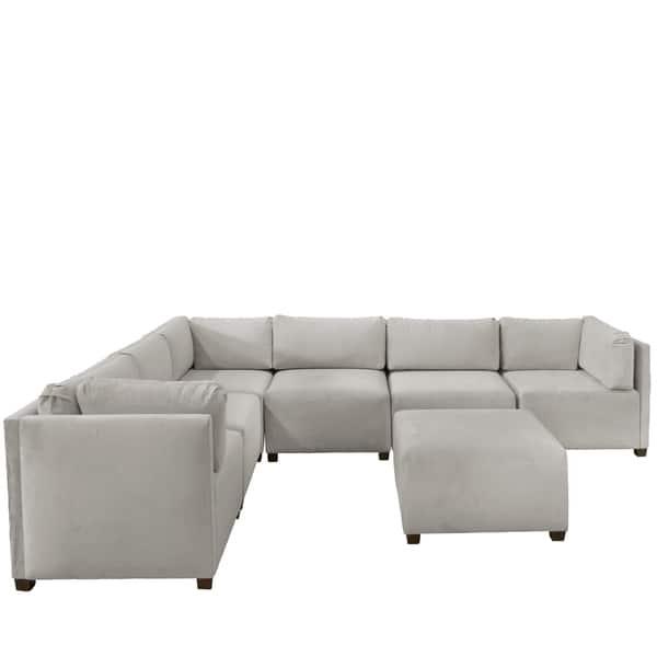 Tremendous Skyline Furniture Velvet Light Grey Sectional Sofa Beatyapartments Chair Design Images Beatyapartmentscom
