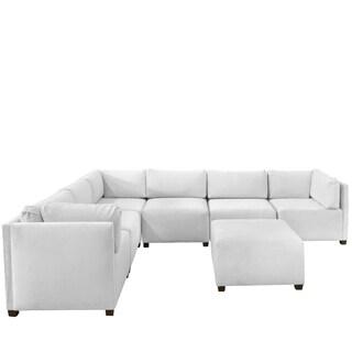 Skyline Furniture Velvet White Sectional Sofa