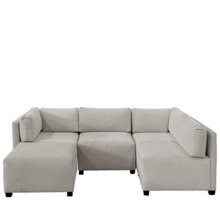 Skyline Furniture Velvet Light Grey Sectional Sofa