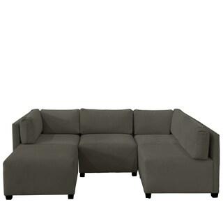 Skyline Furniture Velvet Pewter Sectional Sofa