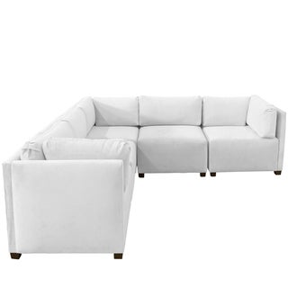 Skyline Furniture Velvet White Sectional Sofa