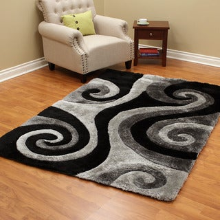 3D Silver Gray Shaggy Polyester Machine-made Rug (5' x 7')