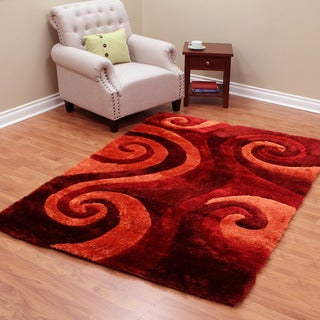 DonnieAnn Burgundy Polyester Machine-made 3-D Shaggy Rug (5' x 7')