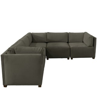 Skyline Furniture Velvet Pewter Sectional Sofa