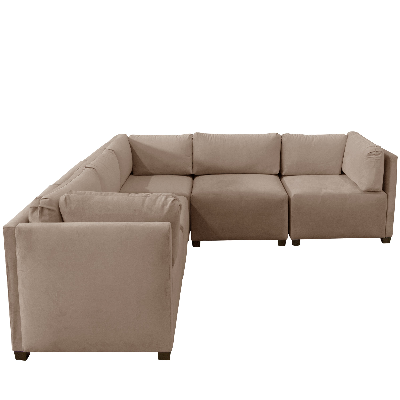 Skyline Velvet Cocoa Sectional Sofa (Cocoa), Tan (Fabric)