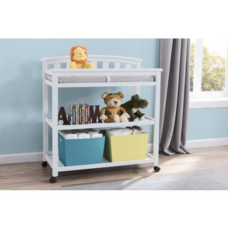 Delta Children Bianca Freedom White Wood Changing Table with Casters