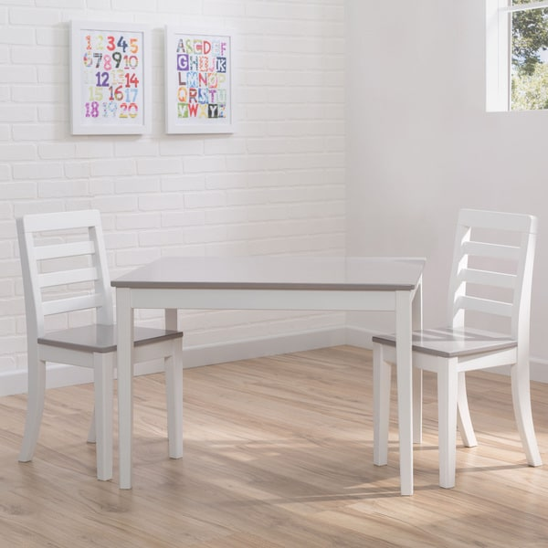 Delta Children 3-piece Grey and White Table and Chairs Set - Multi