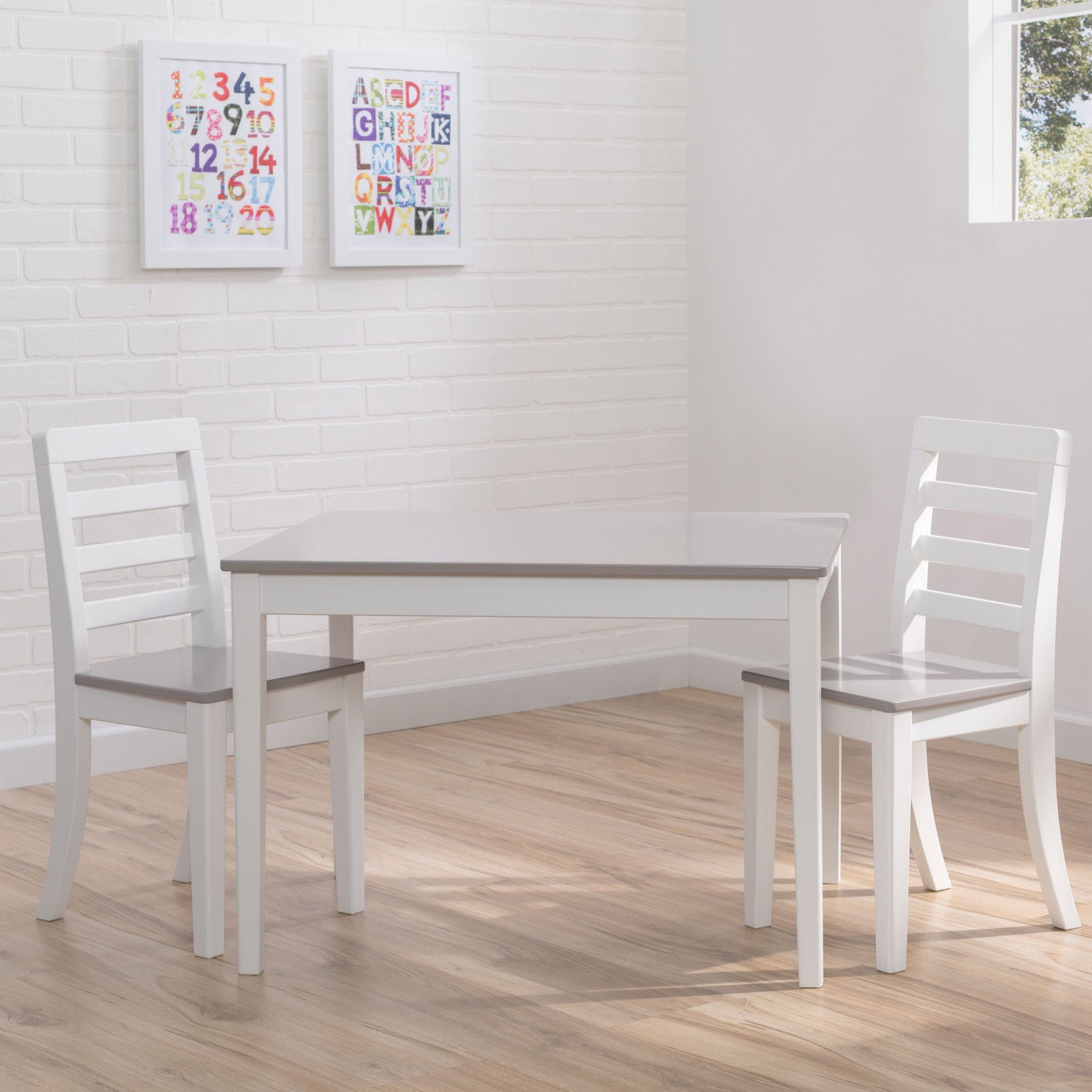 Delta Children 3-piece Grey and White Table and Chairs Se...
