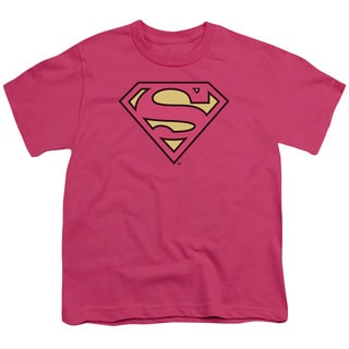 DC/Superman Classic Logo Short Sleeve Youth 18/1 Hot Pink