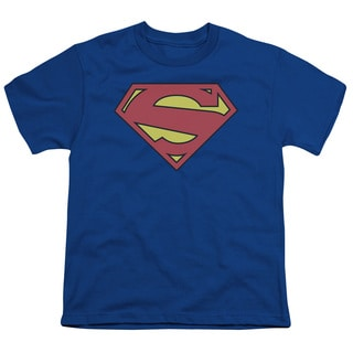 Superman/New 52 Shield Short Sleeve Youth 18/1 in Royal