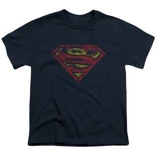 Superman/S Shield Rough Short Sleeve Youth 18/1 in Navy