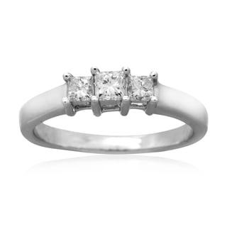 14k White gold 1/2 CT TDW Diamond Princess Cut Three Stone Anniversary Ring (H-I, I2)
