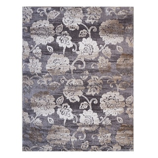 Avenue 33 Light Grey Floral Poly-blend Area Rug (5'3 x 7')