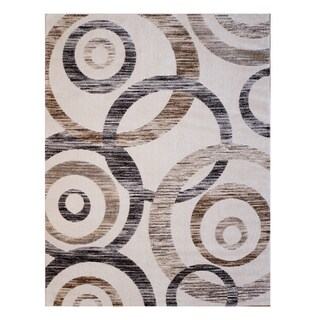 Avenue 33 Orbital Brown/Cream/Grey Poly-blend Area Rug - 7'10 x 10'