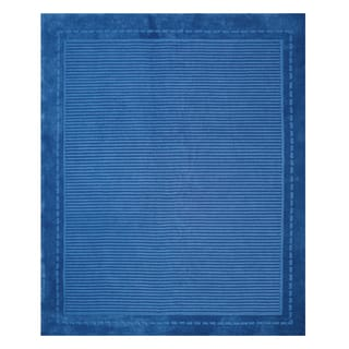 Bopper Blue Striped Polyester Hand-tufted Rug (7'10 x 10')