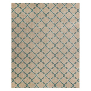 Hastings Beige/Turquoise Polypropylene Machine-woven Rug (7'10 x 10')