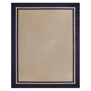 Savannah Beige/Blue Polypropylene Machine-woven Rug (7'10 x 10')