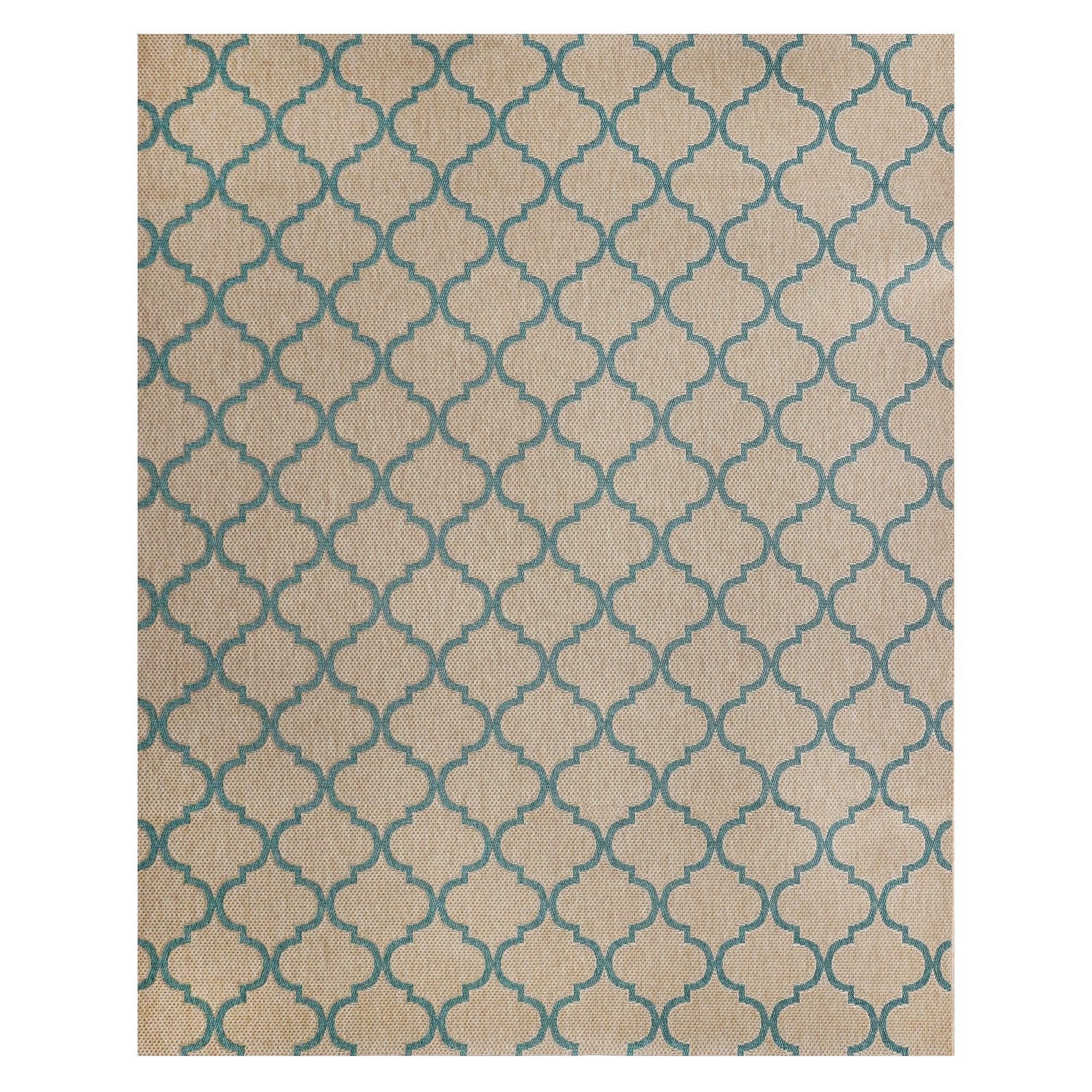 Studio by Brown Jordan Hastings Beige/Turquoise Polypropylene Area Rug (5'3x7'5) - 5'3 x 7'5 (5'3 x 7'5 - Beige/Turquoise)