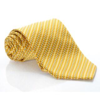 Brioni Gold Silk Geo Squares Tie