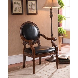 Best Master Furniture Black/Brown Wood Accent Arm Chair With Faux Leather Upholstery