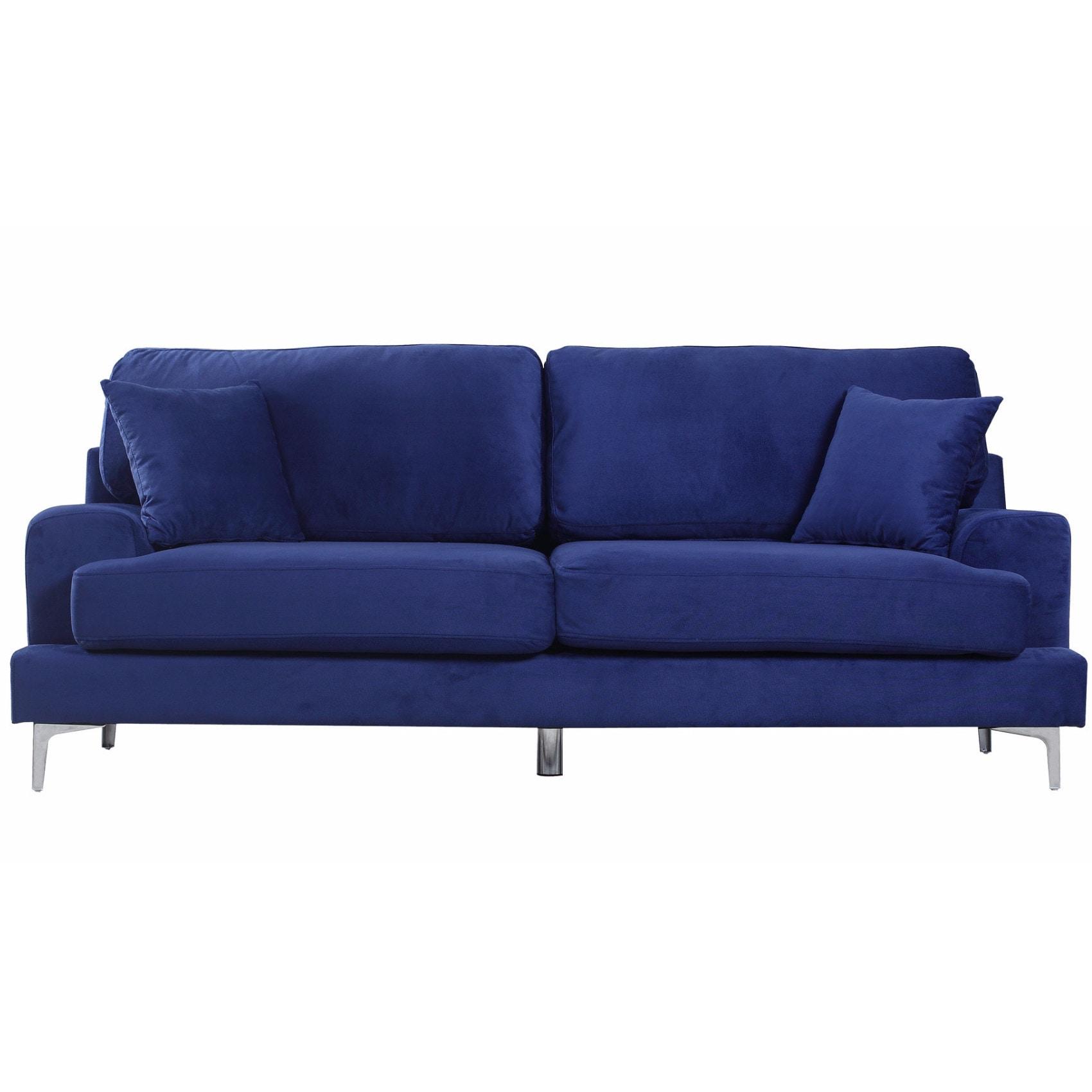 Madison Ultra Modern Plush Velvet Living Room Sofa (Blue)