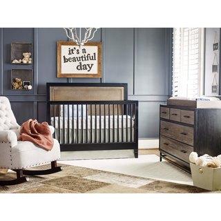 Universal Blue-finish Wood/Metal Convertible Crib