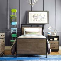 Twin-size Wood Panel Bed