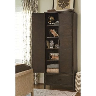 Universal Varsity Brown Elm Veneer and Metal Cabinet