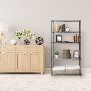 Seville Classics 5-Tier Black Epoxy Steel Wire Shelving