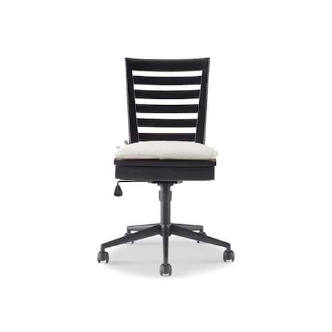 Brown Wood Mobile Desk Chair