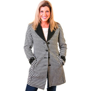 Women's Multicolor Wool and Polyester Single-breasted Trench Coat