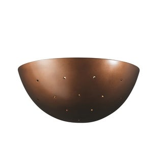 Justice Design Group Ambiance Antique Copper Large Quarter Sphere with Perfs Wall Sconce